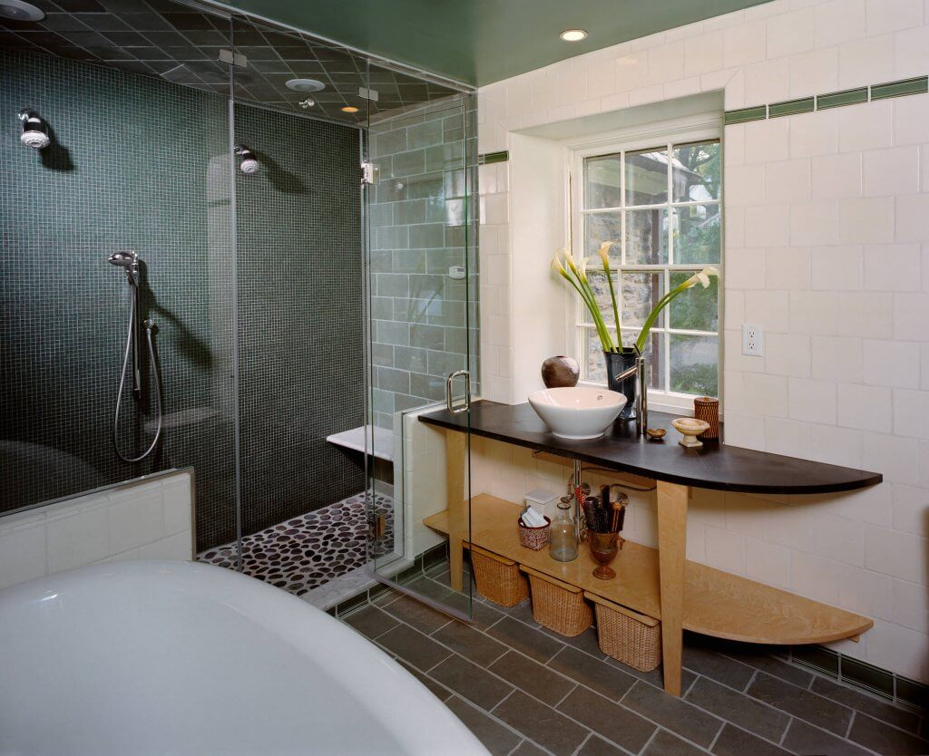 Jenkintown, PA Bathroom Remodel with White and Green Tile Soaker Tub