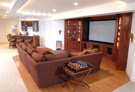 Huntington Valley Basement Remodel Living Room and Movie Room