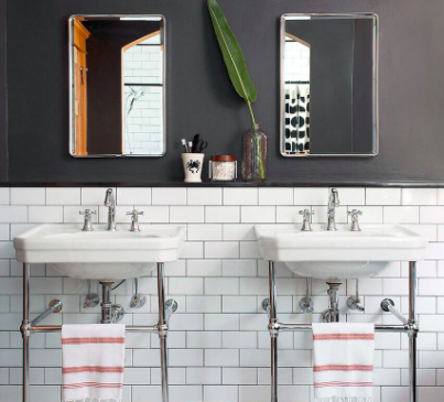 South Philadelphia Bathroom Remodel with Black and White Subway Tiles