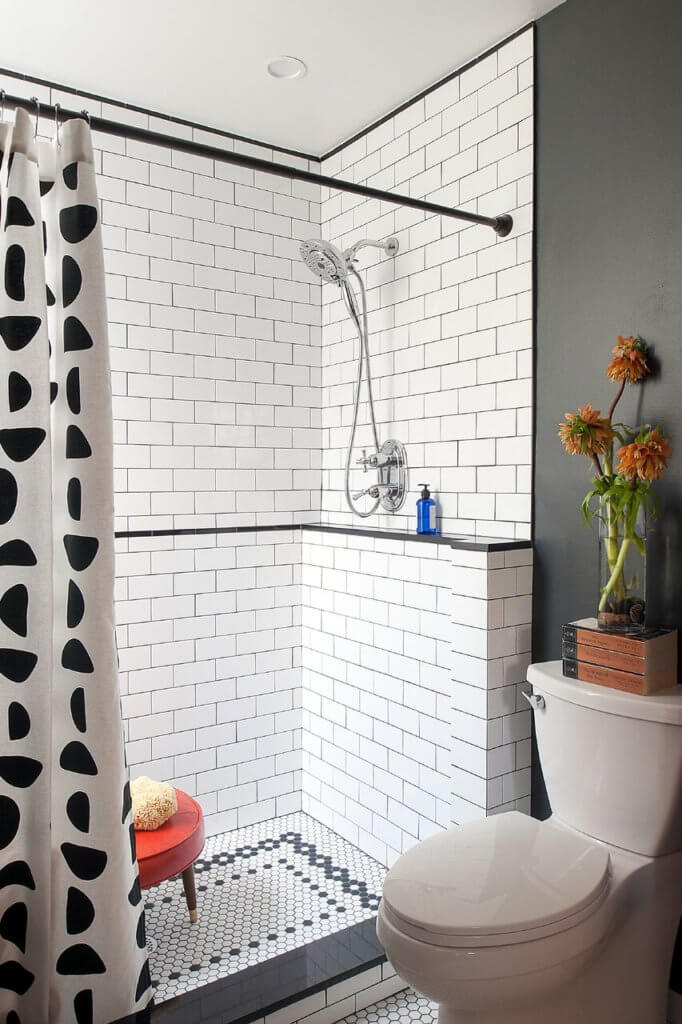 South Philadelphia Subway Tile Black and White Bathroom Remodel